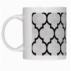 Tile1 Black Marble & White Leather White Mugs by trendistuff