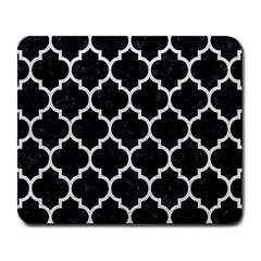 Tile1 Black Marble & White Leather (r) Large Mousepads