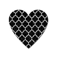 Tile1 Black Marble & White Leather (r) Heart Magnet by trendistuff