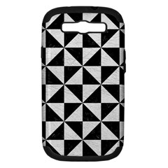 Triangle1 Black Marble & White Leather Samsung Galaxy S Iii Hardshell Case (pc+silicone) by trendistuff
