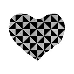 Triangle1 Black Marble & White Leather Standard 16  Premium Flano Heart Shape Cushions by trendistuff