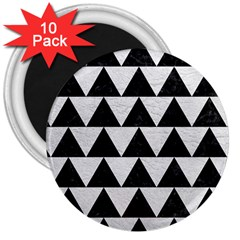 Triangle2 Black Marble & White Leather 3  Magnets (10 Pack)  by trendistuff