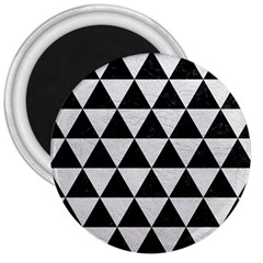 Triangle3 Black Marble & White Leather 3  Magnets