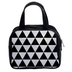 Triangle3 Black Marble & White Leather Classic Handbags (2 Sides) by trendistuff