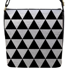 Triangle3 Black Marble & White Leather Flap Messenger Bag (s) by trendistuff