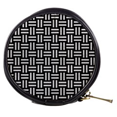 Woven1 Black Marble & White Leather (r) Mini Makeup Bags by trendistuff