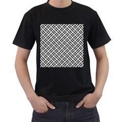 Woven2 Black Marble & White Leather Men s T Shirt (black) (two Sided)