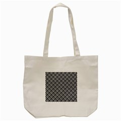 Woven2 Black Marble & White Leather (r) Tote Bag (cream) by trendistuff