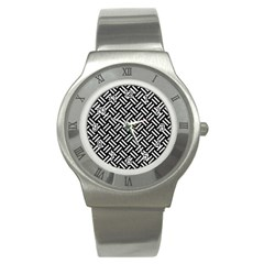 Woven2 Black Marble & White Leather (r) Stainless Steel Watch