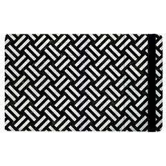 Woven2 Black Marble & White Leather (r) Apple Ipad Pro 9 7   Flip Case by trendistuff