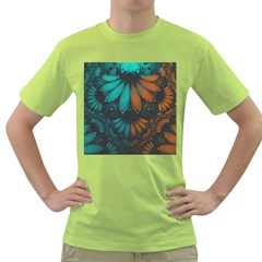 Beautiful Teal And Orange Paisley Fractal Feathers Green T Shirt