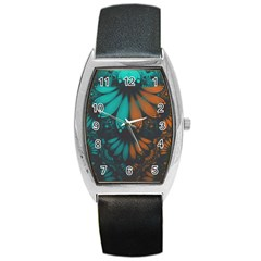Beautiful Teal And Orange Paisley Fractal Feathers Barrel Style Metal Watch