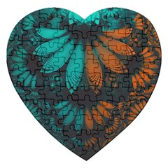 Beautiful Teal And Orange Paisley Fractal Feathers Jigsaw Puzzle (heart) by beautifulfractals
