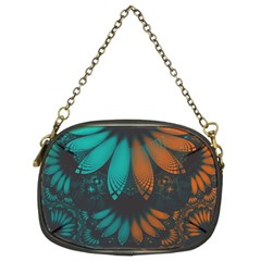 Beautiful Teal And Orange Paisley Fractal Feathers Chain Purses (two Sides)  by beautifulfractals