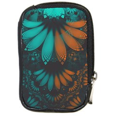 Beautiful Teal And Orange Paisley Fractal Feathers Compact Camera Cases by beautifulfractals