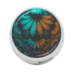 Beautiful Teal And Orange Paisley Fractal Feathers 4 Port Usb Hub (one Side) by beautifulfractals