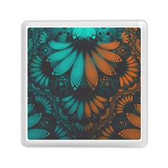 Beautiful Teal And Orange Paisley Fractal Feathers Memory Card Reader (square)  by beautifulfractals