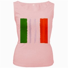 Flag Ireland, Banner Watercolor Painting Art Women s Pink Tank Top by picsaspassion