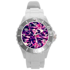 Abstract Acryl Art Round Plastic Sport Watch (l) by tarastyle