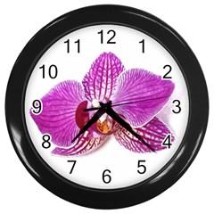 Lilac Phalaenopsis Aquarel  Watercolor Art Painting Wall Clocks (black) by picsaspassion