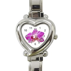 Lilac Phalaenopsis Aquarel  Watercolor Art Painting Heart Italian Charm Watch by picsaspassion