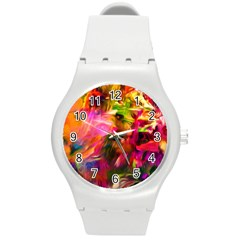 Abstract Acryl Art Round Plastic Sport Watch (m) by tarastyle