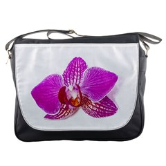 Lilac Phalaenopsis Flower, Floral Oil Painting Art Messenger Bags by picsaspassion