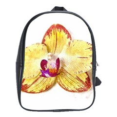 Yellow Phalaenopsis Flower, Floral Aquarel Watercolor Painting Art School Bag (xl) by picsaspassion