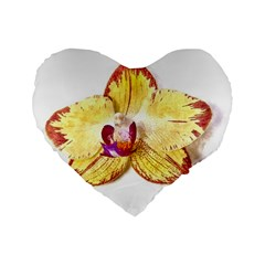 Yellow Phalaenopsis Flower, Floral Aquarel Watercolor Painting Art Standard 16  Premium Flano Heart Shape Cushions by picsaspassion