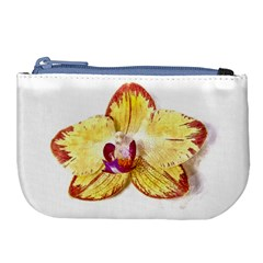 Yellow Phalaenopsis Flower, Floral Aquarel Watercolor Painting Art Large Coin Purse by picsaspassion