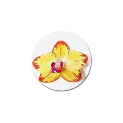 Phalaenopsis Yellow Flower, Floral Oil Painting Art Golf Ball Marker by picsaspassion