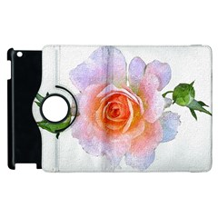 Pink Rose Flower, Floral Oil Painting Art Apple Ipad 2 Flip 360 Case by picsaspassion