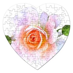 Pink Rose Flower, Floral Watercolor Aquarel Painting Art Jigsaw Puzzle (heart) by picsaspassion