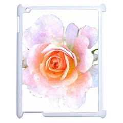 Pink Rose Flower, Floral Watercolor Aquarel Painting Art Apple Ipad 2 Case (white) by picsaspassion