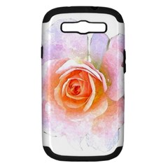 Pink Rose Flower, Floral Watercolor Aquarel Painting Art Samsung Galaxy S Iii Hardshell Case (pc+silicone) by picsaspassion