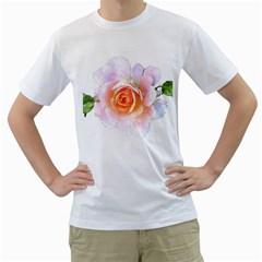 Pink Rose Flower, Floral Watercolor Aquarel Painting Art Men s T Shirt (white)  by picsaspassion