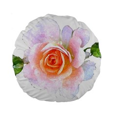 Pink Rose Flower, Floral Watercolor Aquarel Painting Art Standard 15  Premium Flano Round Cushions by picsaspassion