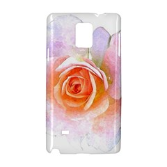 Pink Rose Flower, Floral Watercolor Aquarel Painting Art Samsung Galaxy Note 4 Hardshell Case by picsaspassion