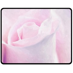 Rose Pink Flower, Floral Aquarel   Watercolor Painting Art Double Sided Fleece Blanket (medium)  by picsaspassion