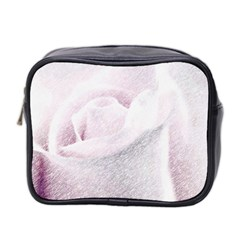Rose Pink Flower  Floral Pencil Drawing Art Mini Toiletries Bag 2 Side by picsaspassion