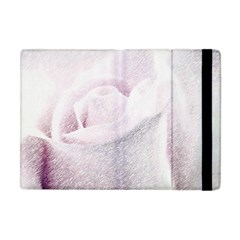 Rose Pink Flower  Floral Pencil Drawing Art Apple Ipad Mini Flip Case by picsaspassion