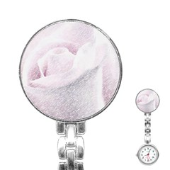 Rose Pink Flower  Floral Pencil Drawing Art Stainless Steel Nurses Watch by picsaspassion