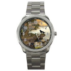 The Lonely Wolf On The Flying Rock Sport Metal Watch by FantasyWorld7