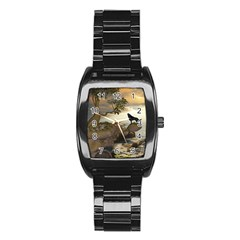 The Lonely Wolf On The Flying Rock Stainless Steel Barrel Watch by FantasyWorld7