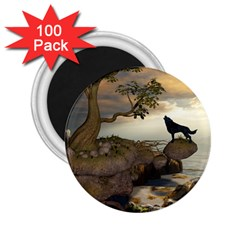 The Lonely Wolf On The Flying Rock 2 25  Magnets (100 Pack)  by FantasyWorld7