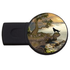 The Lonely Wolf On The Flying Rock Usb Flash Drive Round (2 Gb) by FantasyWorld7