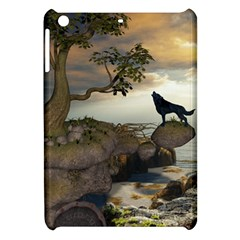 The Lonely Wolf On The Flying Rock Apple Ipad Mini Hardshell Case by FantasyWorld7