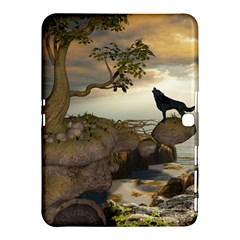 The Lonely Wolf On The Flying Rock Samsung Galaxy Tab 4 (10 1 ) Hardshell Case  by FantasyWorld7