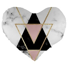 Triangles,gold,black,pink,marbles,collage,modern,trendy,cute,decorative, Large 19  Premium Heart Shape Cushions by 8fugoso