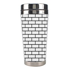 Brick1 Black Marble & White Linen Stainless Steel Travel Tumblers by trendistuff